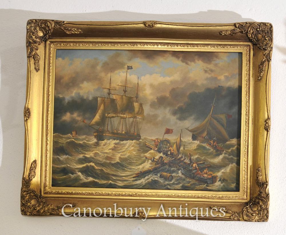 Peinture anglaise Oil Victorian Seascape Navire Maritime Signée A Hess