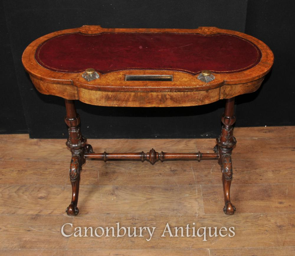 REGENCY ANTIQUE ECRITURE TABLE DESK CIRCA 1900 NOYER