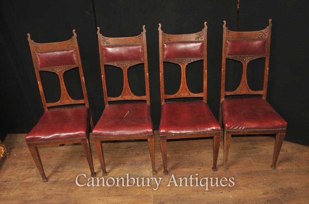 Set 4 Art Antique Nouveau Chaise 1890 Arts et métiers chêne sculpté
