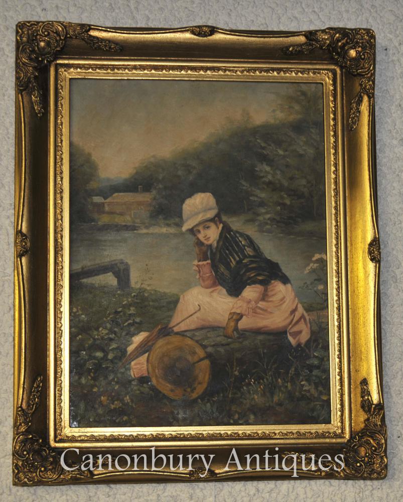 Victorian Peinture à l huile Portrait Jeune fille sur la Tamise à Londres