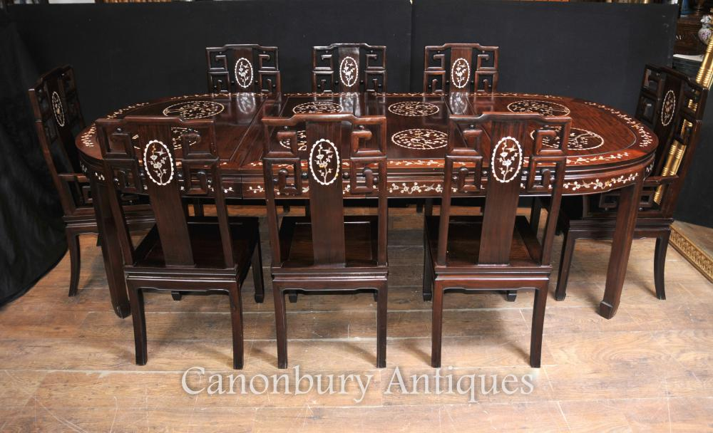 Antique Chinese Hardwood Dining Set table et 8 chaises Mother of Pearl Inlay 1920