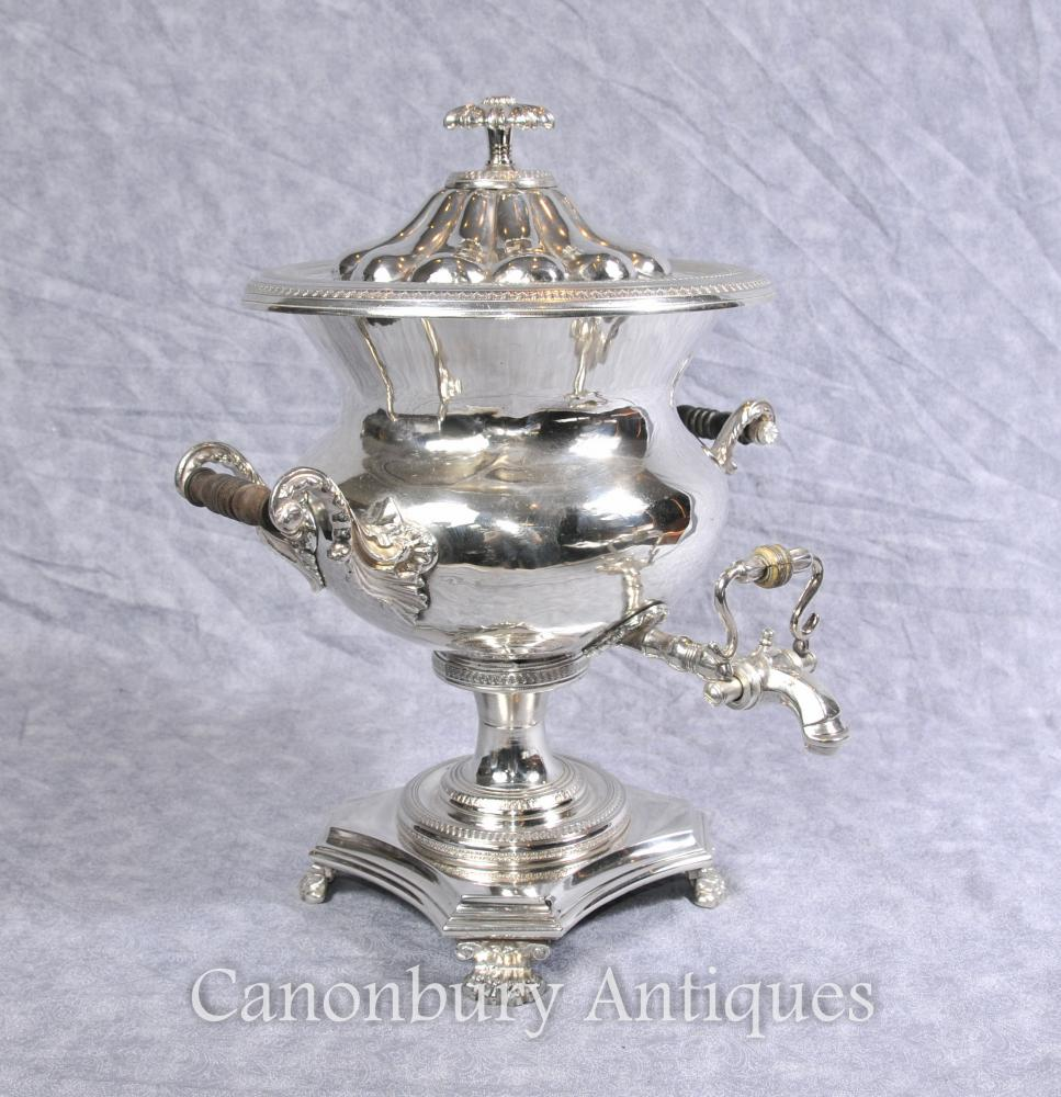 Antique anglais Argent Plate Samovar Tea Coffee Urn Sheffield Argent Plate