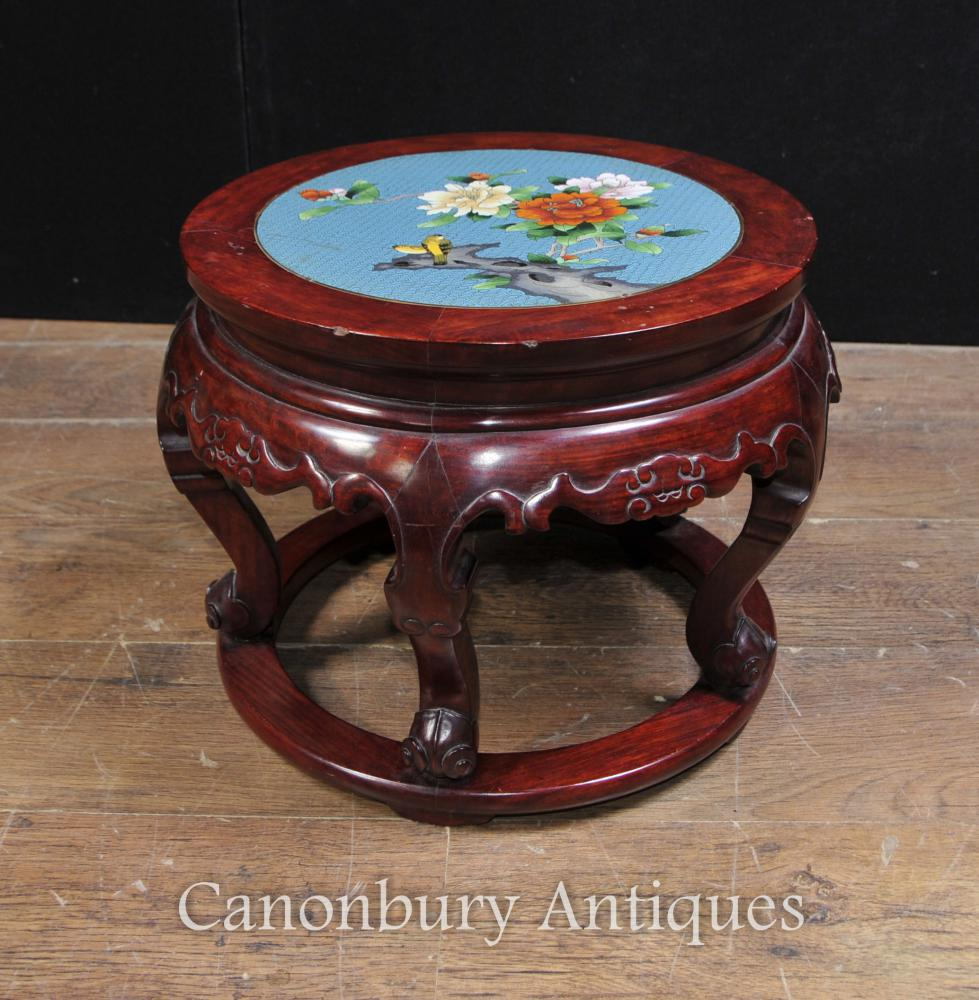 Antique chinois Cloisonné Hardwood support de table Table