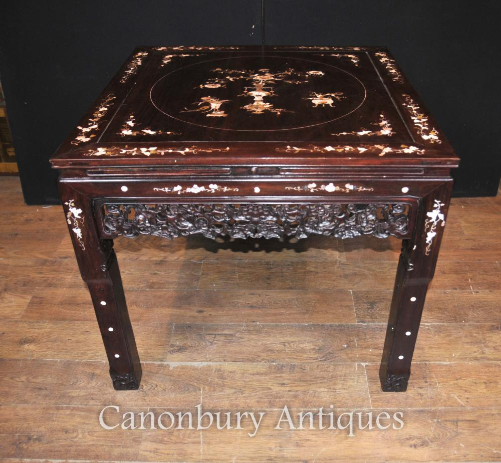 Antique chinois Hardwood Table et Tabouret salle à manger ensemble Mother of Pearl Inlay