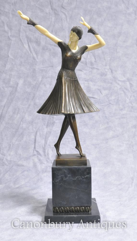 Art Deco Bronze Chiparus Figurine Danseuse Flapper