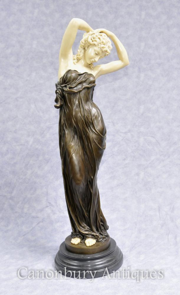 Art Deco Bronze Seductive Femme Figurine Statue Par Gory