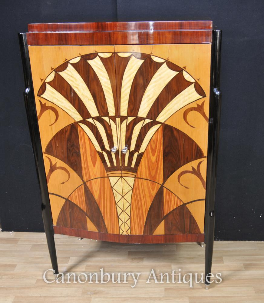 Art Deco Cabinet Commode Marqueterie Inlay Furniture