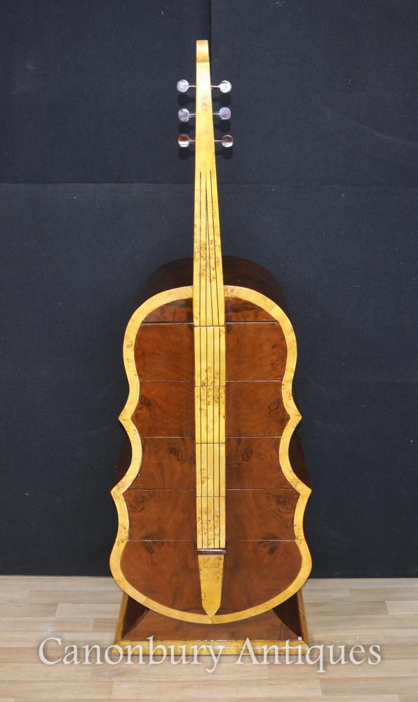 Art Deco Contrebasse Chest Tiroirs Commode Musical Instrument Meubles