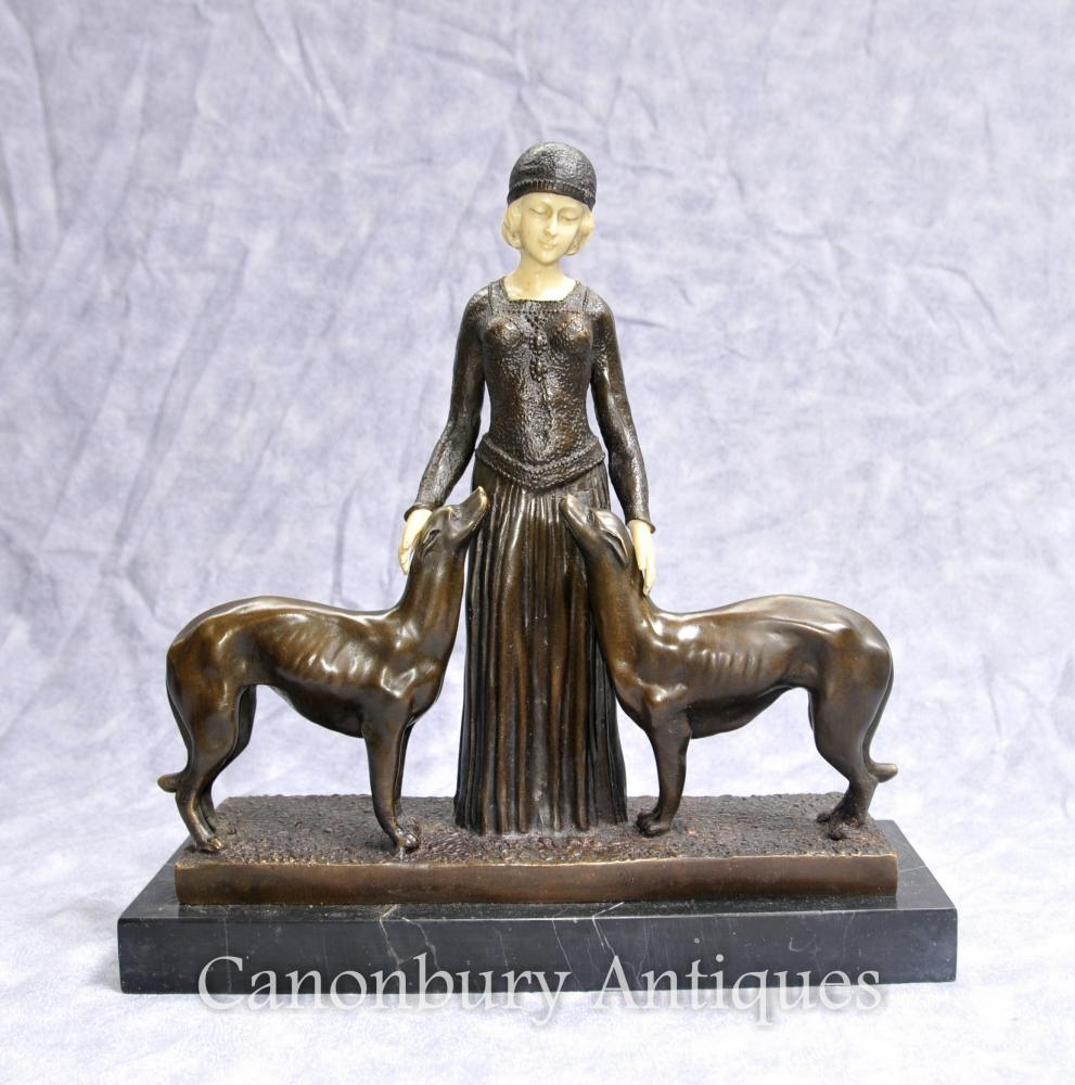 Art Deco Eternal Amis Statue Signée Chiparus Figurine Barzoï