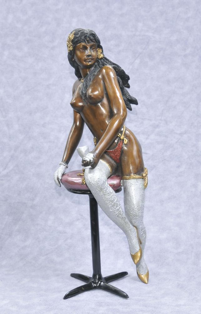 Bronze Erotic Lady Statue Tabouret Sexy Girl Figurine