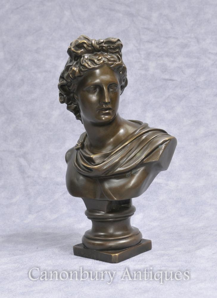Buste en bronze dieu grec Apollon Art Classique olympiennes Divinités