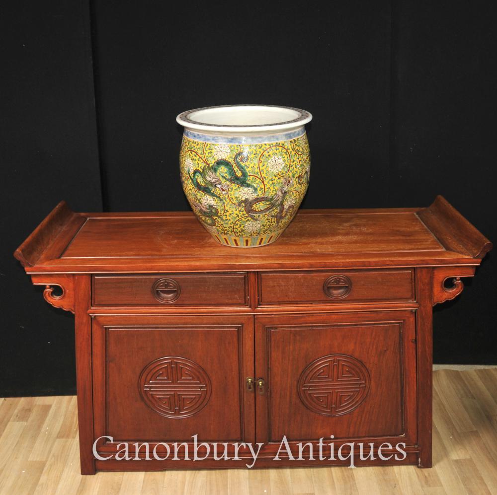 Chinoise Ming en porcelaine de dragon Planteur Bowl Urne Céramique