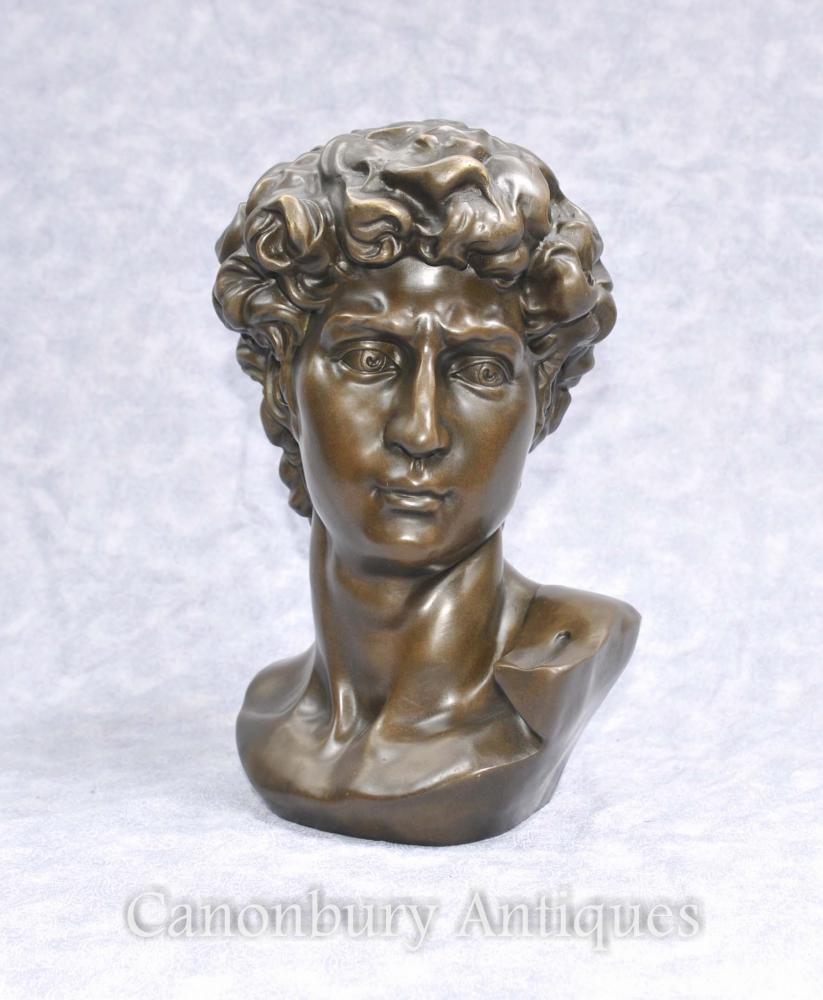 Classique Bronze Buste David de Michel-Ange Renaissance Art Statue