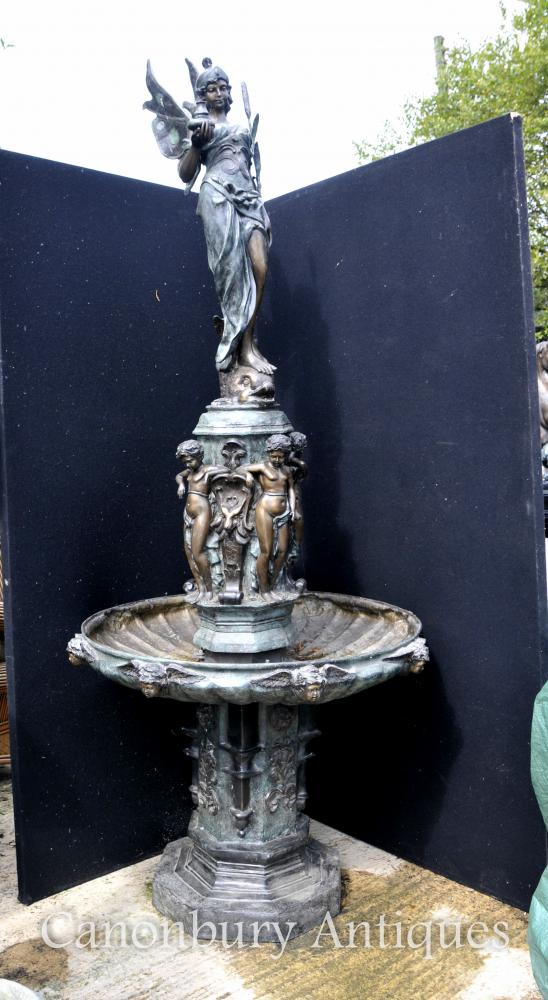 Feature XL Bronze italienne Fontaine Renaissance Maiden Chérubins Tiered architecture eau