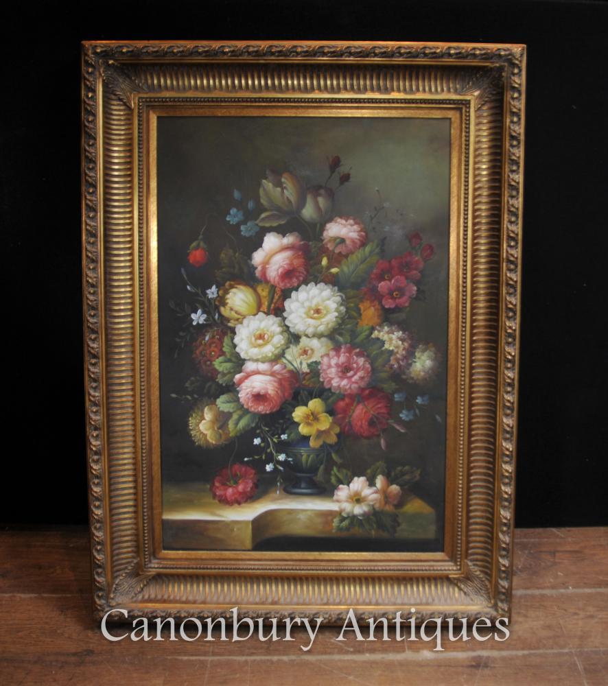 Floral Victorian Still Life Oil Painting cadre doré Fleurs