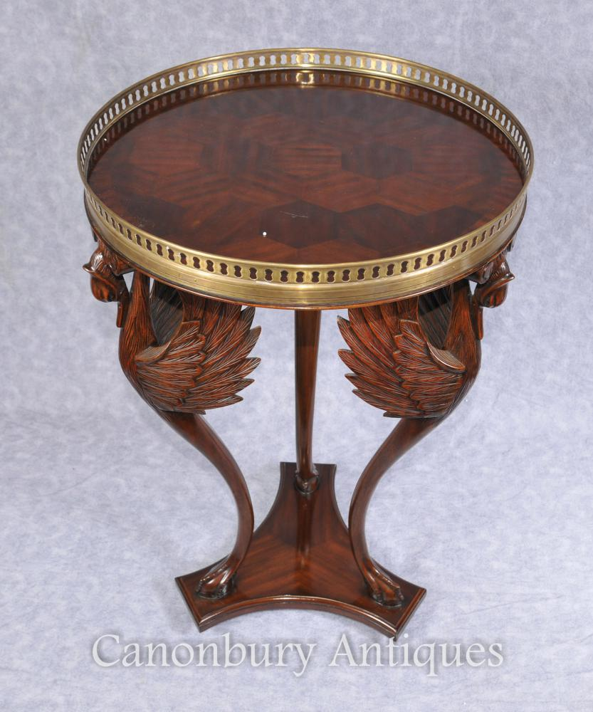 Français Empire Grue Side Table d'oiseaux Tables de cocktail