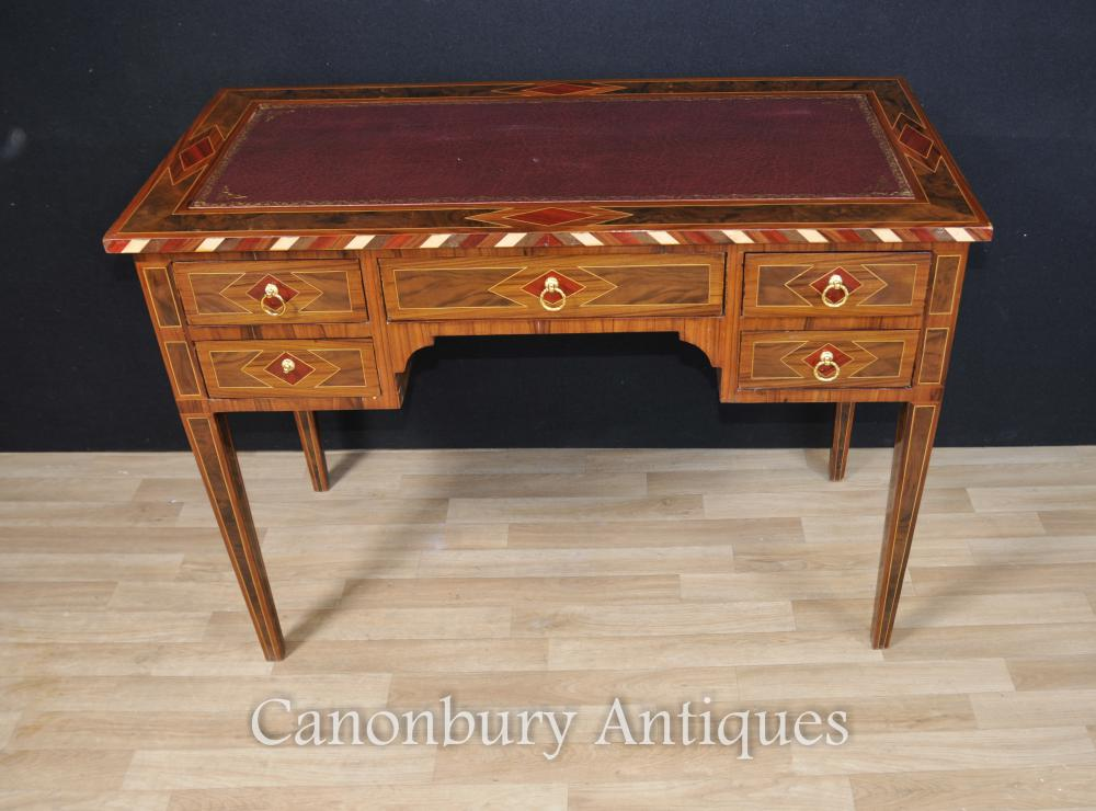 Français Empire Walnut bureau Bureau Plat Knee Trou Table