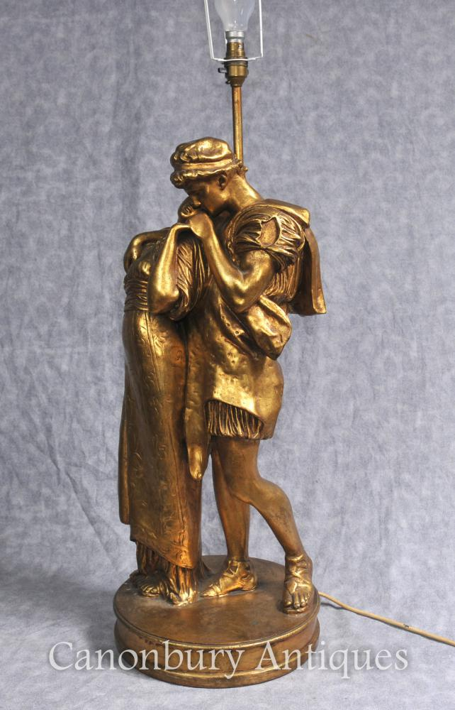 Français Gilt bois Table Lamp Le Baiser Lovers