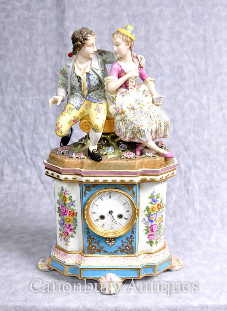 German Porcelain Dresden Figurine Pendule