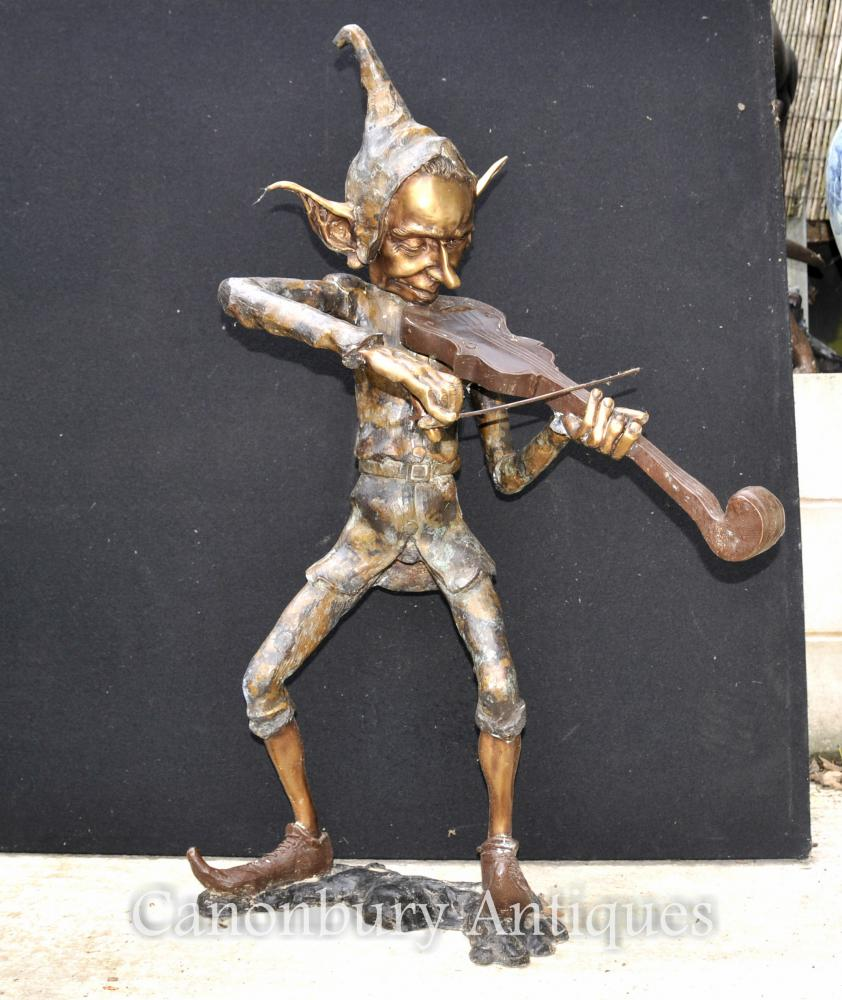 Grand Bronze Pixie joueur de violon Statue Pixies Elf Sculpture