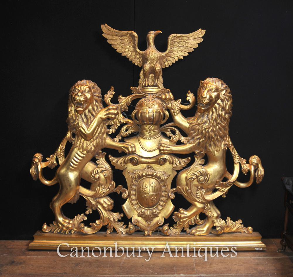 Manteau anglais Gilt des armes à la main Sculpté Héraldique Chevalier Bouclier Lion
