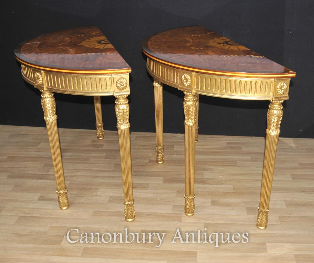 Pair Adams Regency Console Demilune Marqueterie Inlay Tops