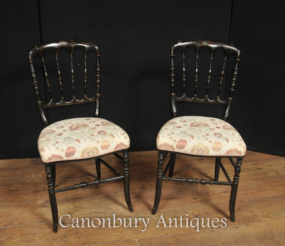 Pair Antique Chinese Noir Laque Chaise broche Retour