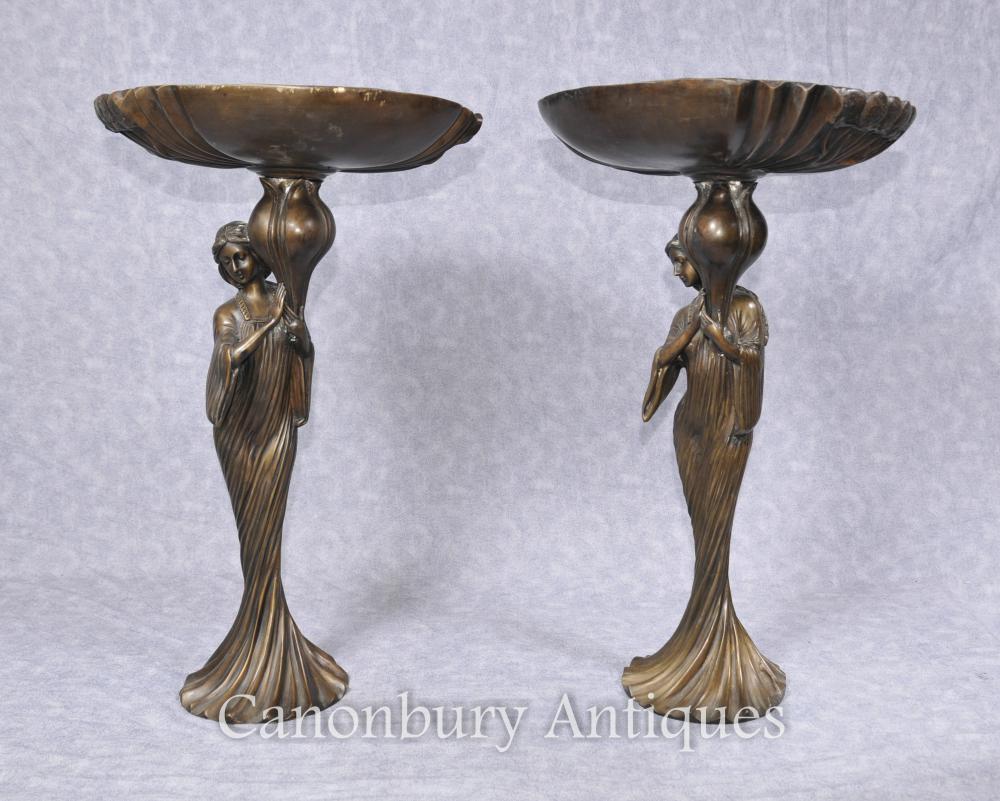 Paire Art Français Nouveau Bronze Femme Figurine Vaisselle compotiers