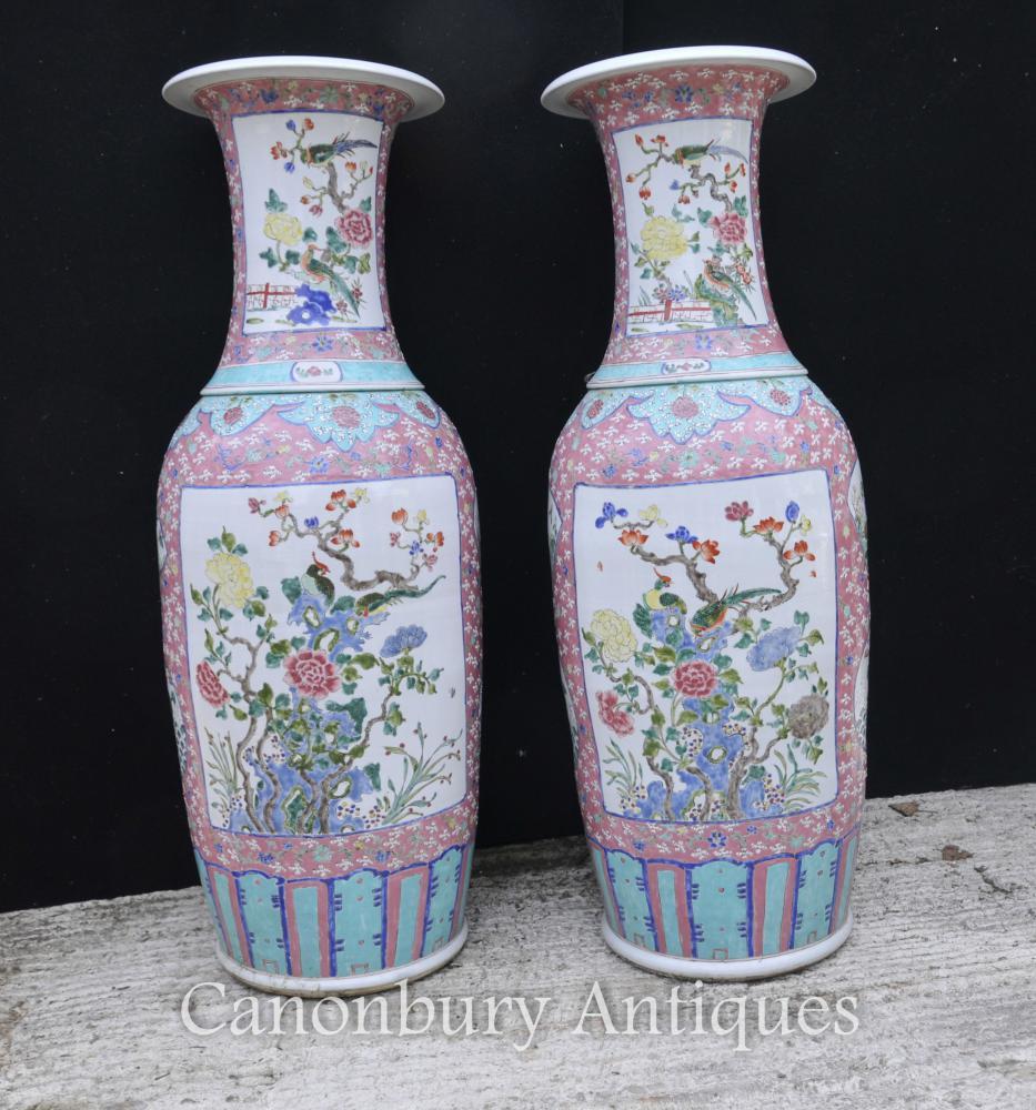 Paire Big chinois Qianlong porcelaine Urnes Vases en céramique