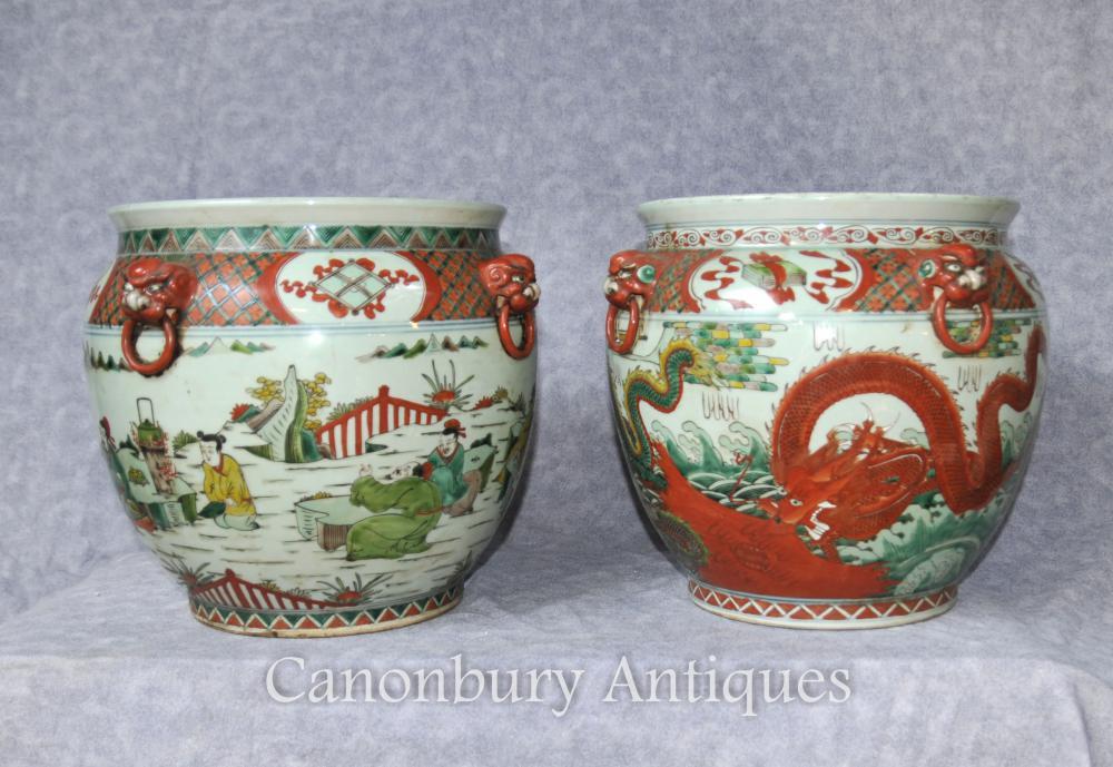 Paire Chinese Qianlong Pottery Planters Porcelaine Urnes