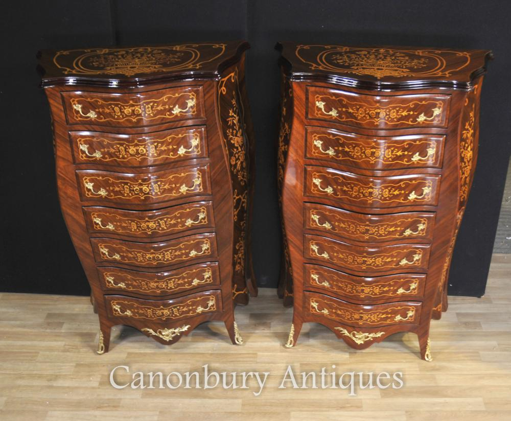 Paire Empire Bombe Commodes Tiroirs Commodes Tall Boys