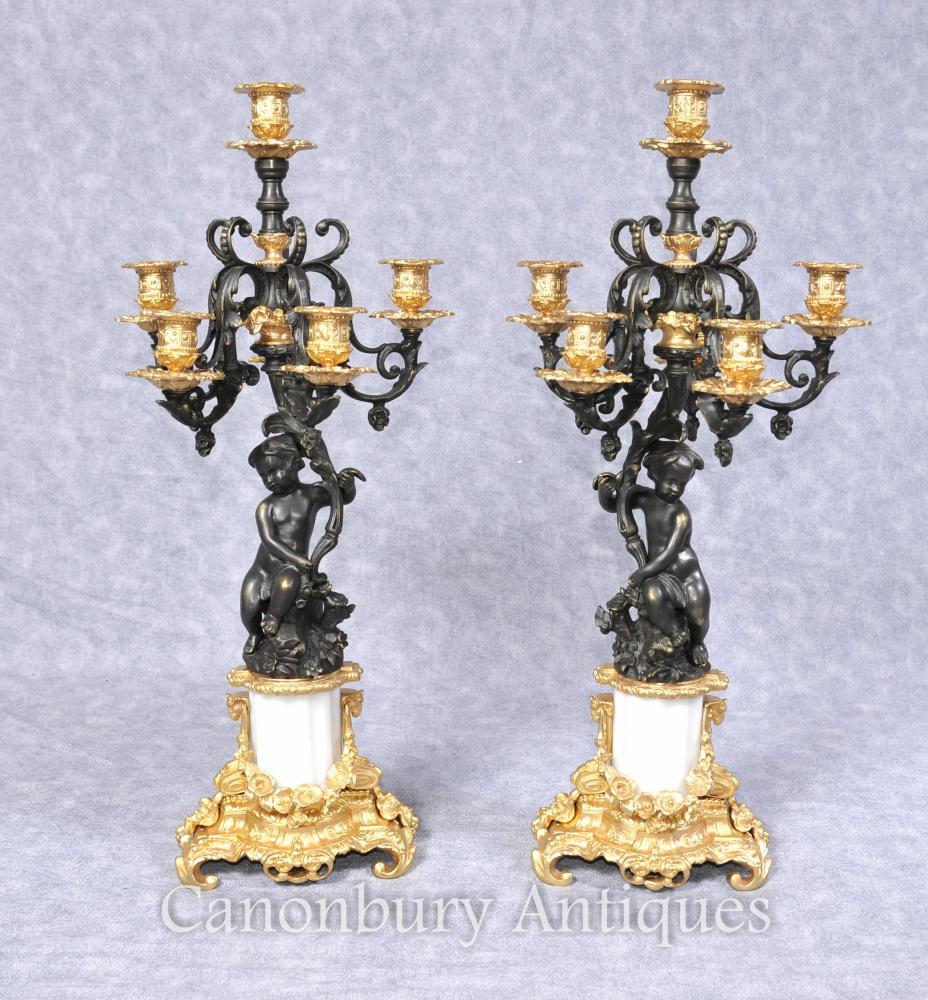 Paire Empire français Bronze Cherub Candélabres Bougies