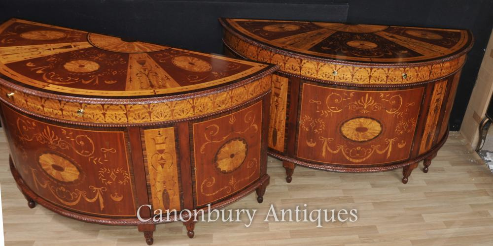Paire Regency Marqueterie Commodes Demilune Armoires Marqueterie Inlay