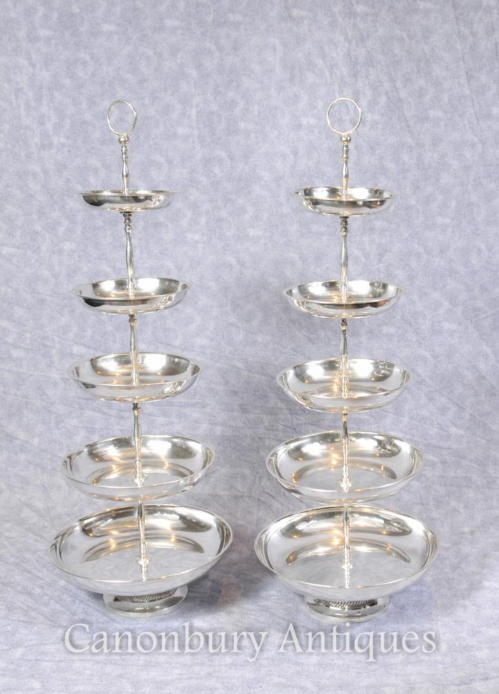 Paire Sheffield Cake Silver Plate Stands Tiered Dish stand
