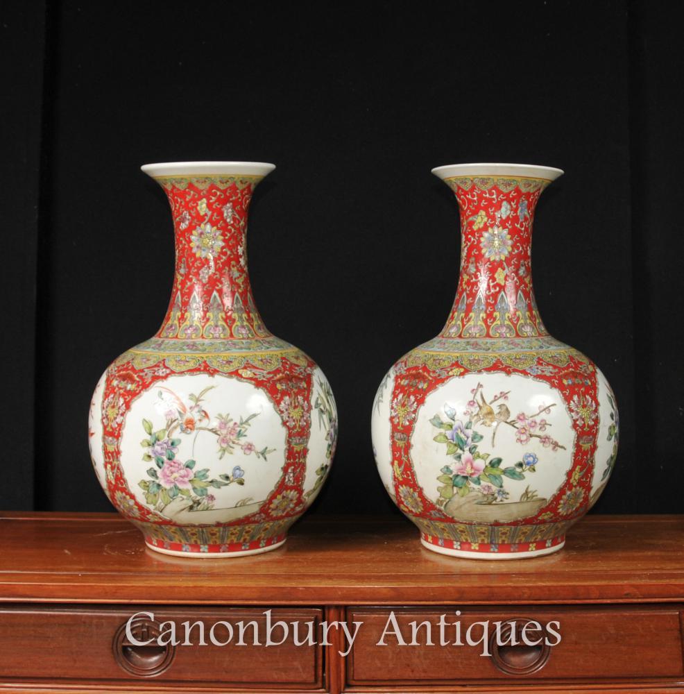 Paire Yuan chinois en porcelaine céramique Urnes Form Shanping