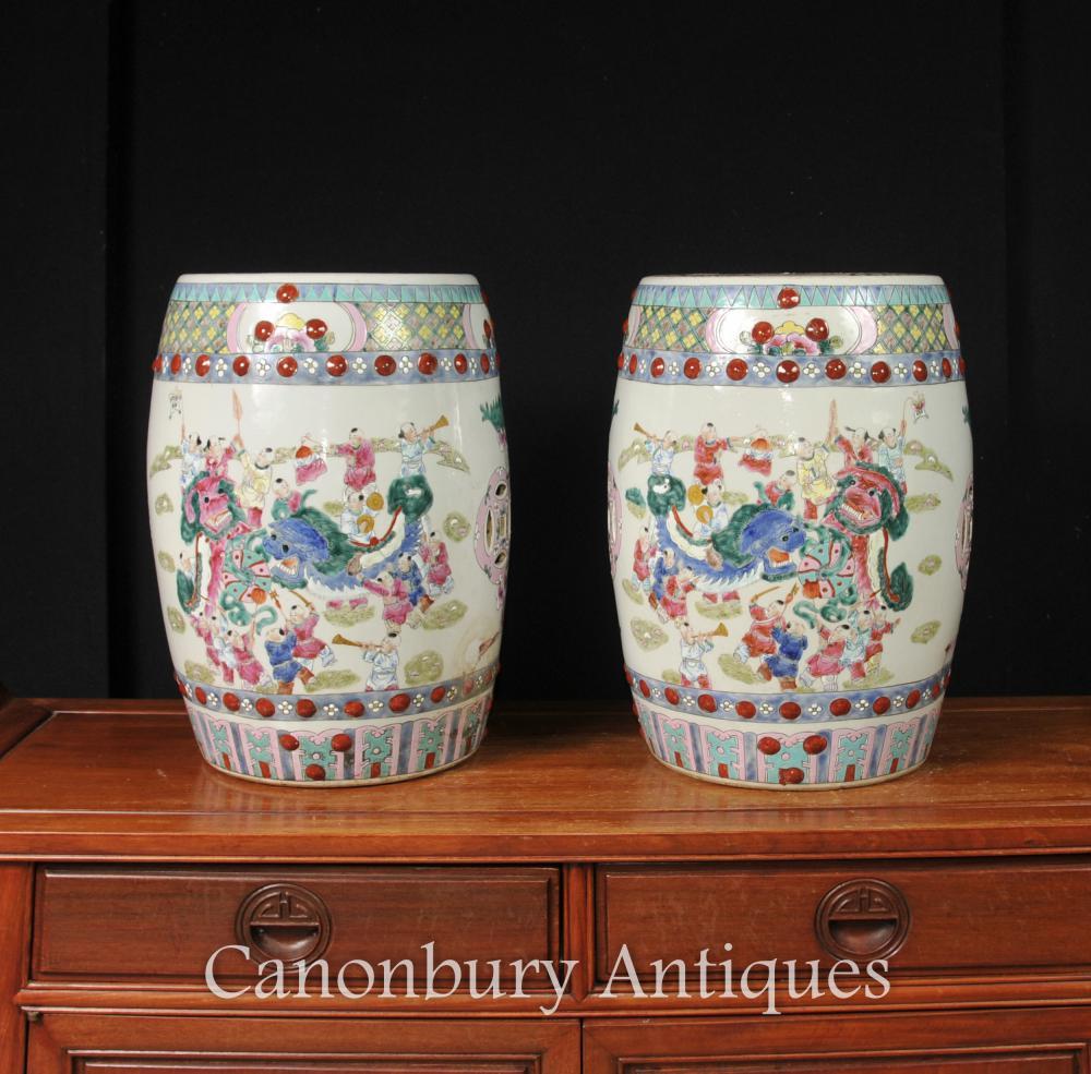 Paire chinois Kangxi Porcelaine Jardin Sièges Tabourets dragon Urnes