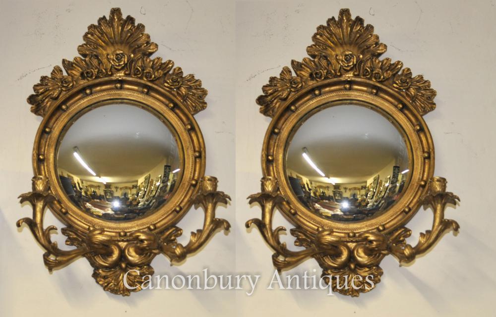 Paire français Rococo miroirs convexes Girandole Candélabres