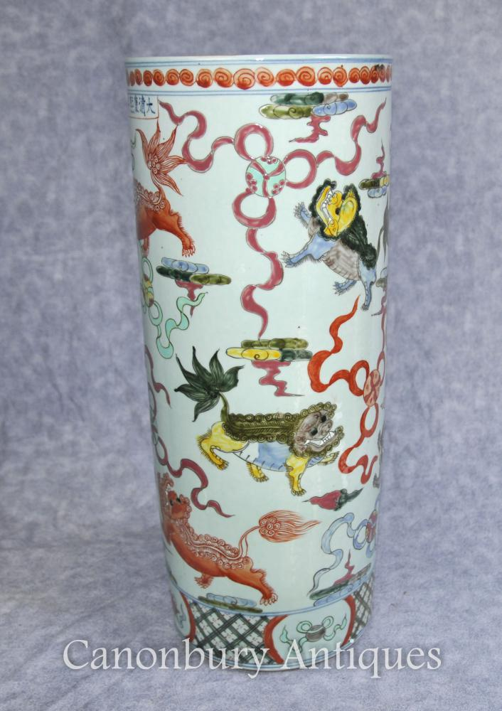 Porcelaine chinoise Qianlong dragon-parapluie Urne Vase