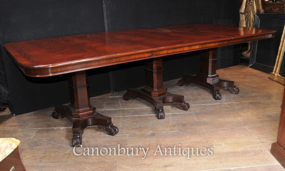 Regency Dining Table Acajou Triple Pedestal Manner George Bullock