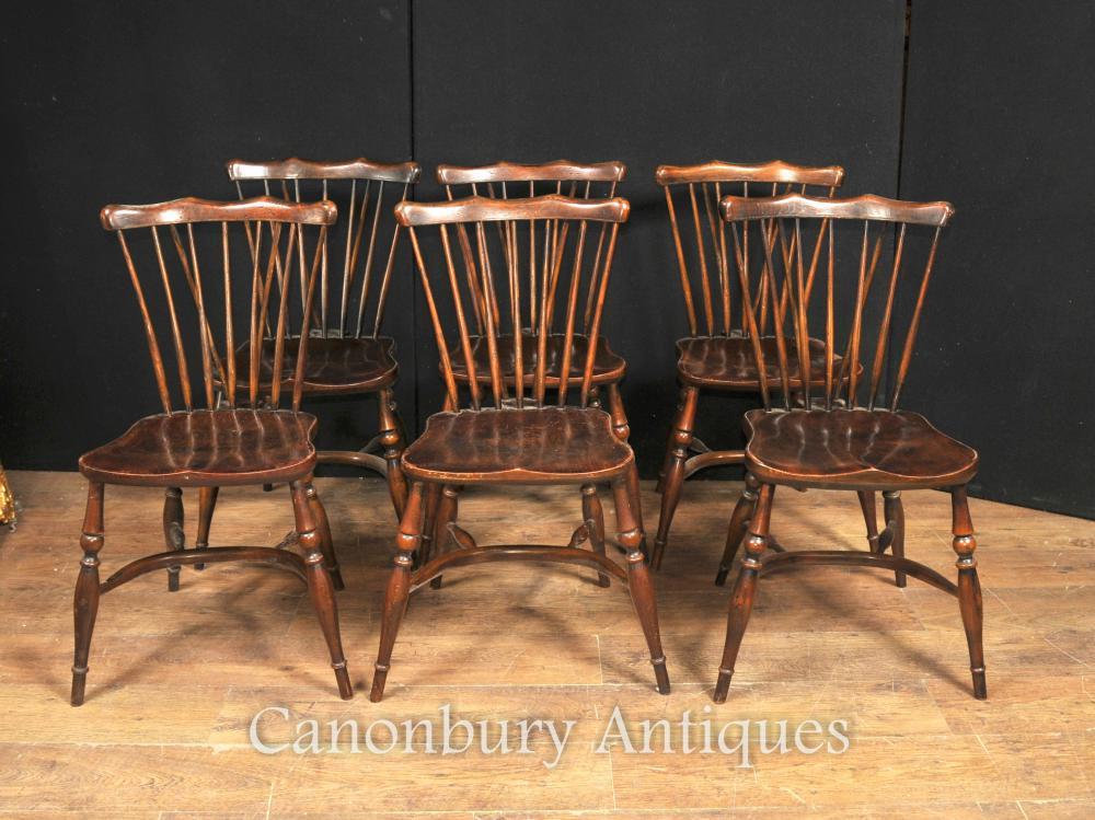 Set 8 Antique Oak Windsor Chaises 1920 Cuisine Salle à manger président