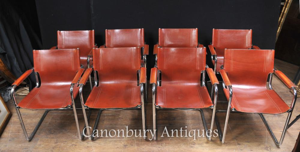 Set 8 Italian Matteograssi cuir Chaise milieu du siècle moderne
