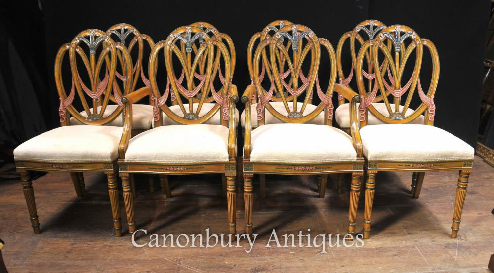Set 8 Satinwood Hepplewhite Chaise Painted Furniture