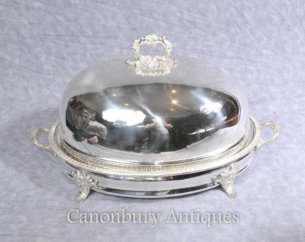 Victorian Silver Plate Serving Platter Dome Meat Tray alimentaire Warmer