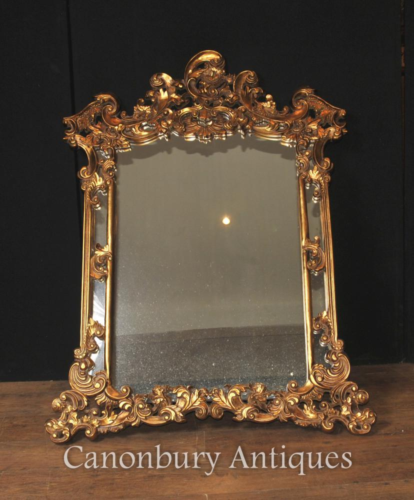 Anglais Gilt Chippendale Miroir Miroir Rococo Frame Verre