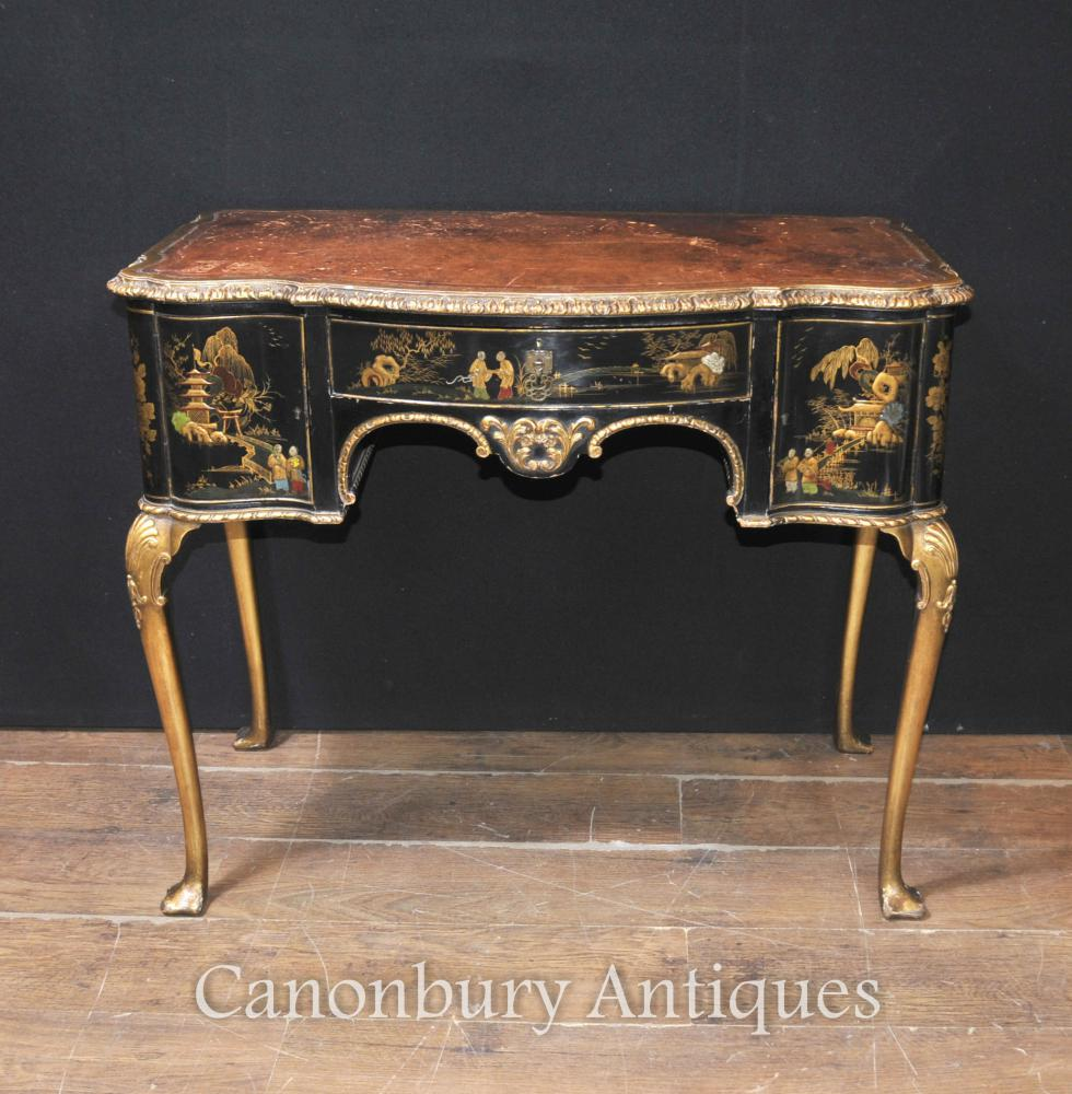 Antique English Chinoiserie Table de bureau pour dames 1900