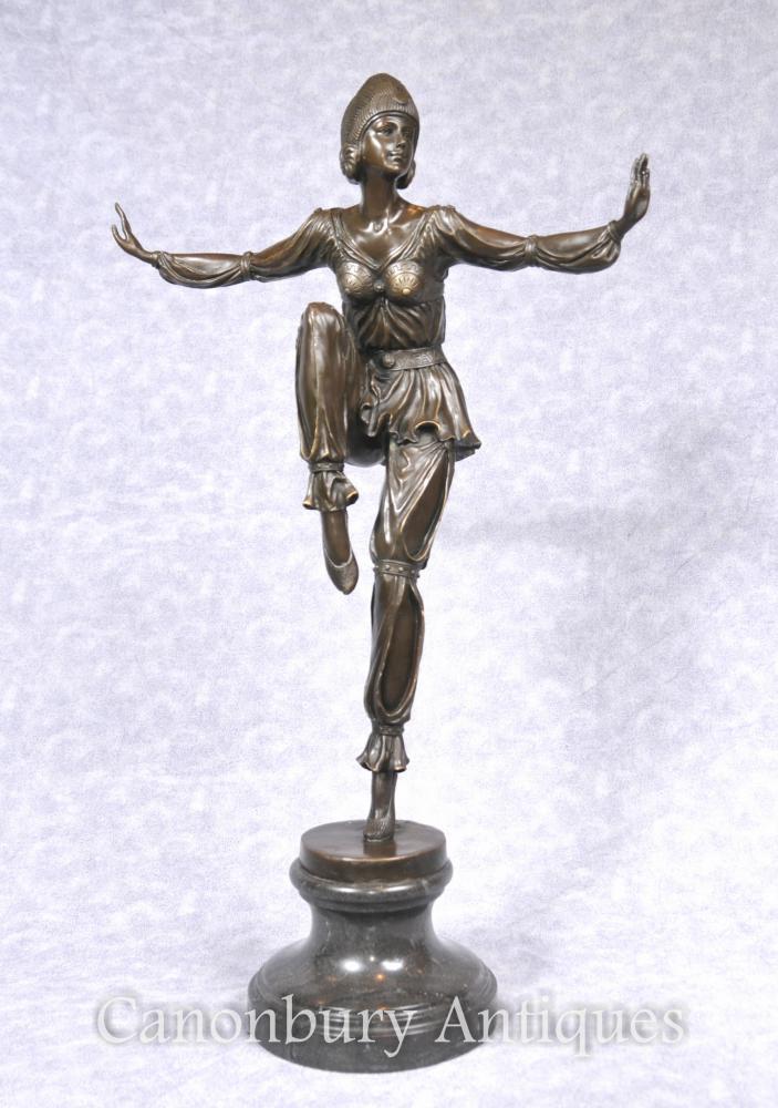 Art déco Bronze Danseur égyptien Flapper Figurine Statue