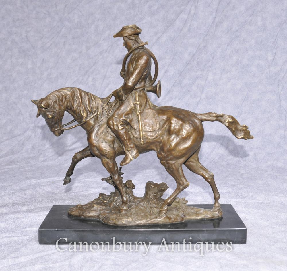 Chasseur de bronze Bronze Chasseur de cheval Huntsman Horseback Sculpture