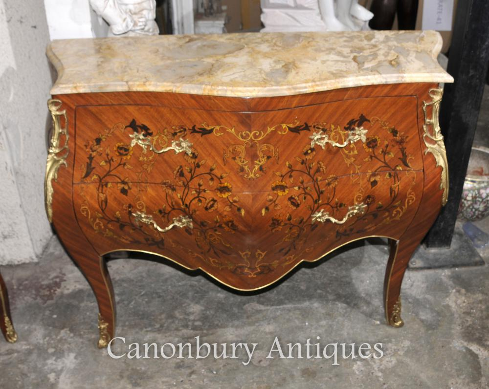 Empire Bombe Commode Commode Inlay Floral