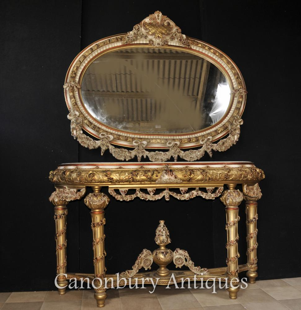 Ensemble de table et de miroir peints Louis XVI