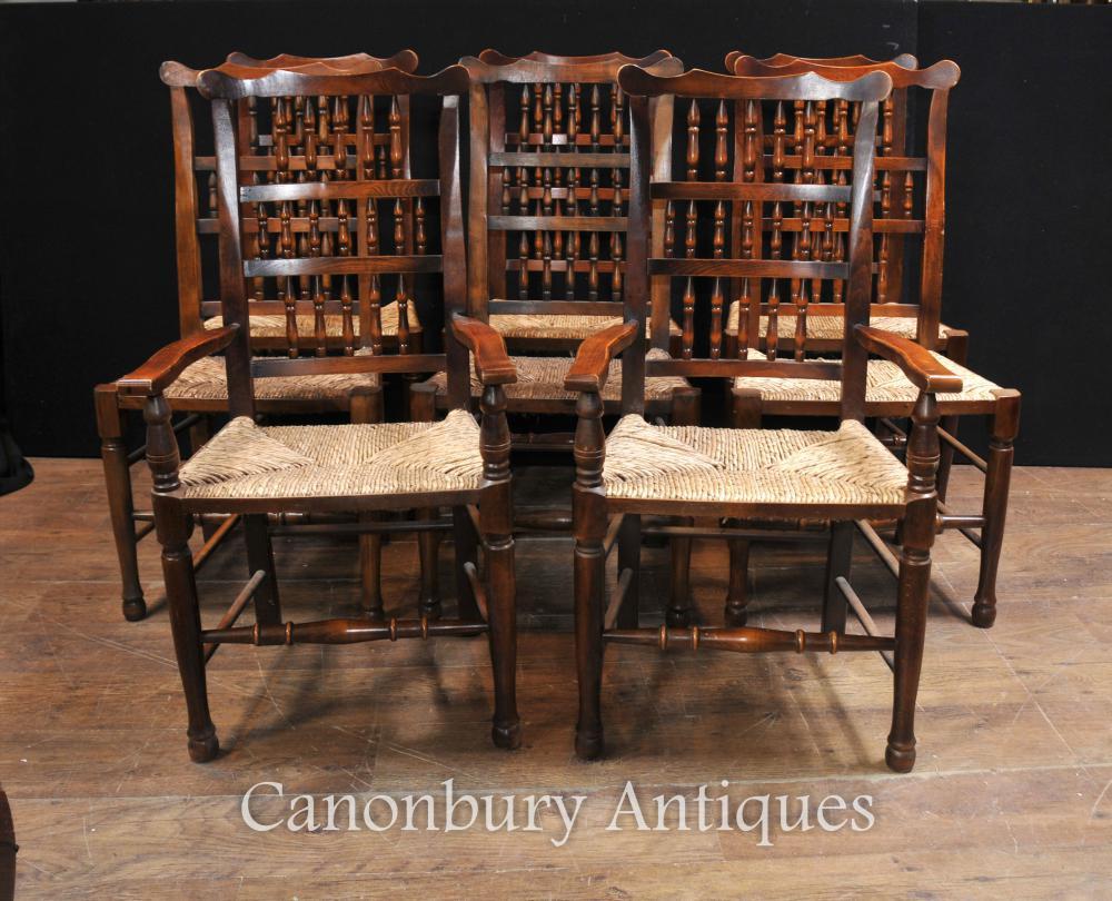 Establir 8 roure Spindleback Cadires de menjador cuina de la casa Menjador